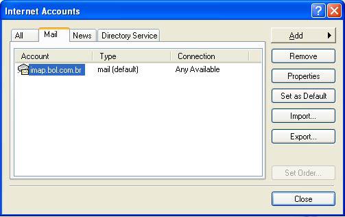 Na janela 'Contas na Internet', selecione sua conta e clique em 'Propriedades'