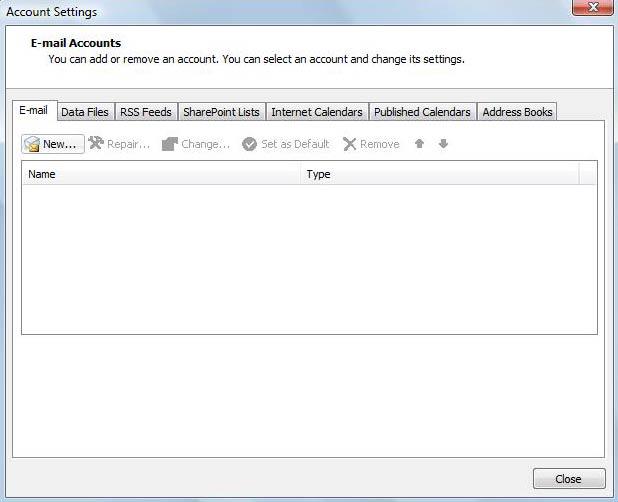 Na aba 'E-mail', clique no botão 'New'