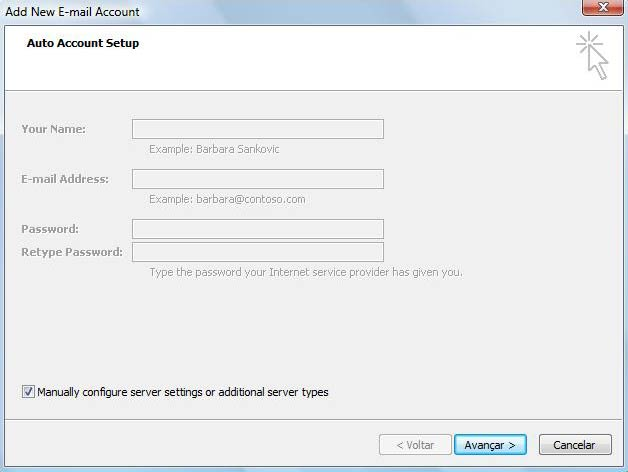 Marque diretamente a op��o 'Manually configure server settings or additional server types' e clique em 'Avan�ar'