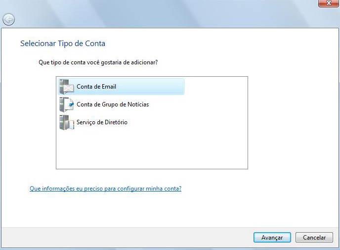 Selecione a op��o 'Conta de E-mail' e clique de 'Avan�ar'