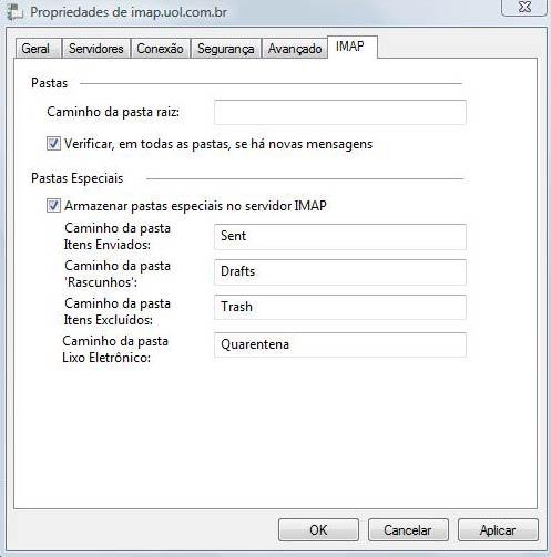 Preencha as portas de SMTP e IMAP