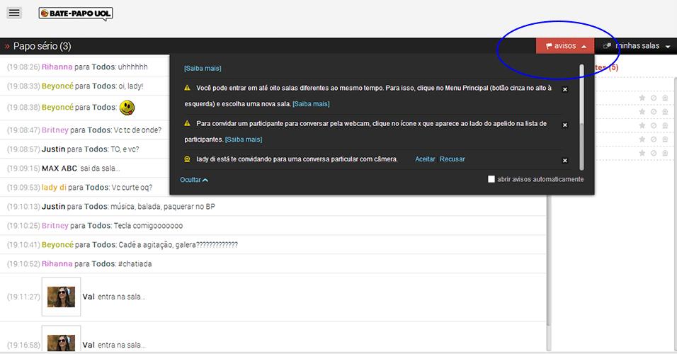 Avisos - No menu de 'avisos', você receberá convites para conversar na webcam, notificações sobre suas ações na sala e dicas de navegação. Continua a seguir.