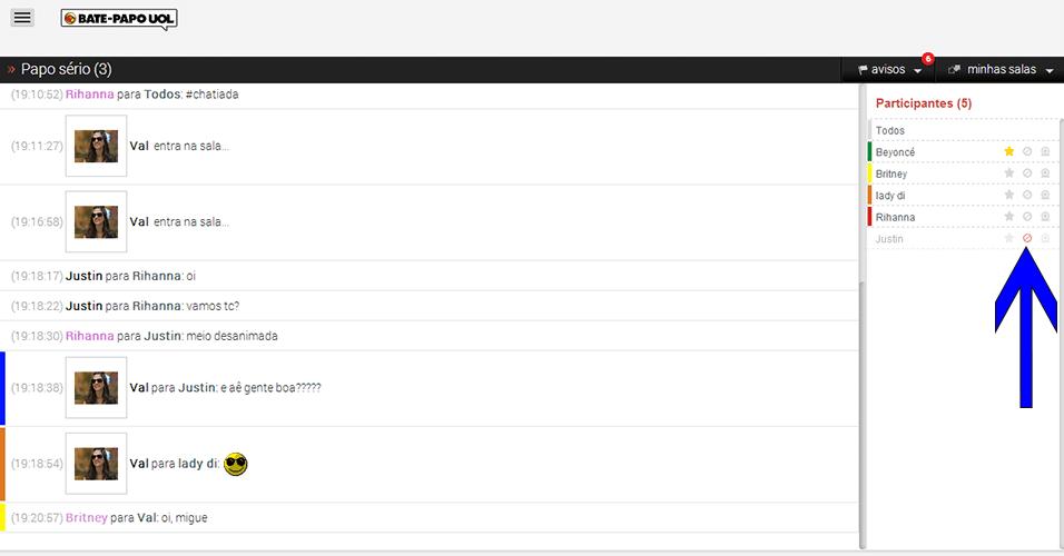 Lista de participantes - Bloqueie internautas incovenientes clicando no ícone apontado pela seta. Assim você não visualizará mais as mensagens enviadas por esse interlocutor, e o apelido dele será posicionado no fim da lista. Continua a seguir.