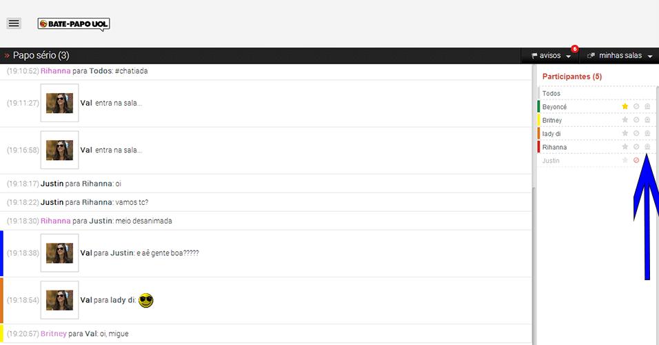 Lista de participantes - Convide participantes para ter um papo mais 'caprichado' nas salas reservadas com compatilhamento de áudio e imagens. Para isso, clique no ícone de webcam. Esse recurso ainda não está disponível para quem acessa o bate-papo por tablets ou celulares.