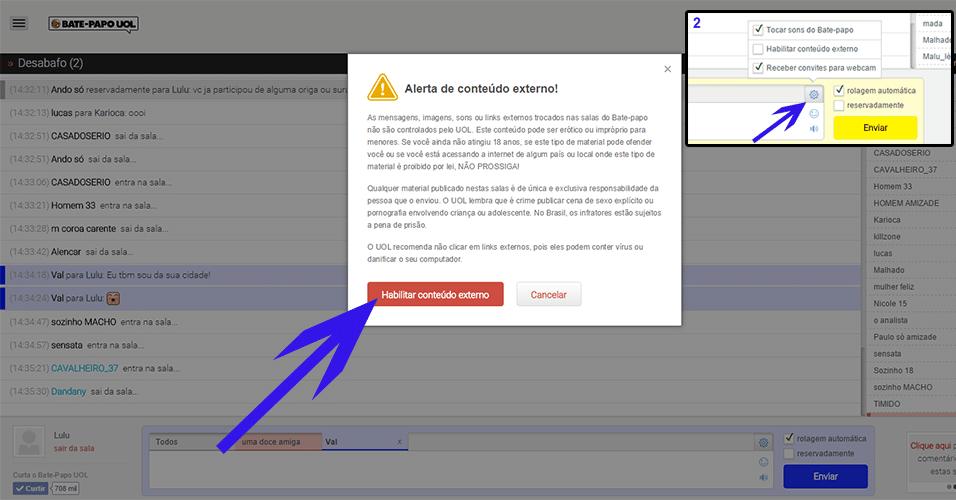 Colando imagens na sala - em seu primeiro envio de uma foto, aparecerá um alerta para você 'Habilitar conteúdo externo'. Você também pode acionar o recurso clicando no ícone de 'Configurações' (como mostra a imagem 2)