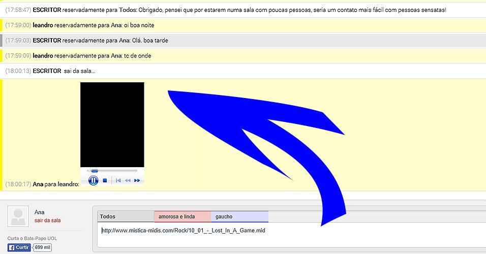 Colando midis nas salas - O procedimento ficou bem mais fácil, pois agora basta colar o endereço (URL) do arquivo na caixa de mensagens, 'Habilitar conteúdos externos' e curtir. Vale checar se o seu navegador e a versão do QuickTime Player que está usando ainda suportam midis.