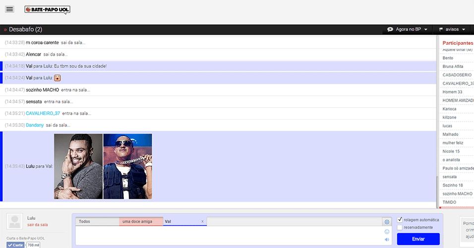 Colando imagens na sala - Apenas internautas com esses recursos habilitados em Configurações receberão o conteúdo das mensagens. Continua em seguida.