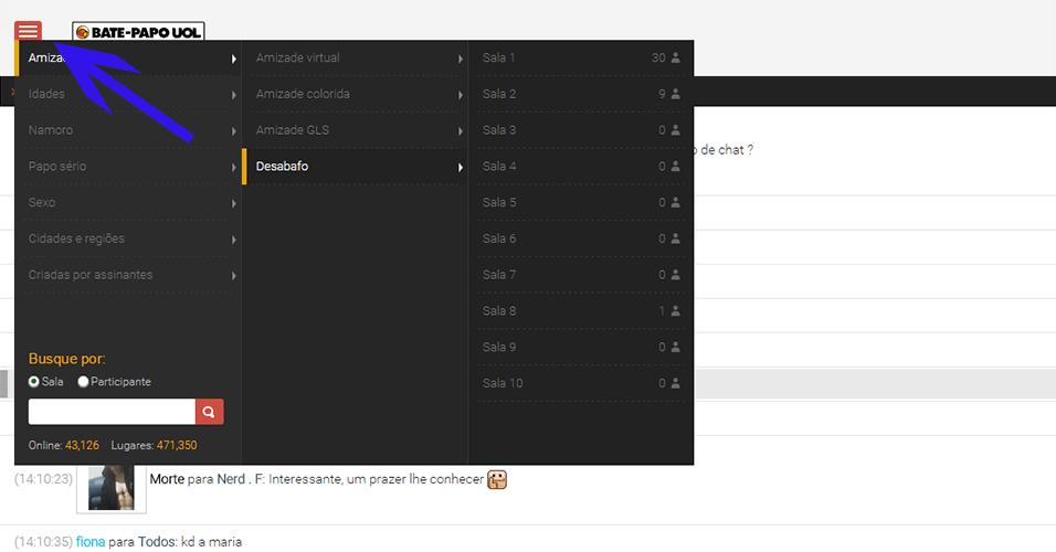 Menu principal - É possível acessar até oito salas ao mesmo tempo, sem precisar abrir várias abas do seu navegador. Para abrir uma nova sala, clique no menu no canto superior à esquerda da tela. Se curtir o que está rolando por lá, autentique-se. Atenção: só é permitido entrar uma vez na mesma sala seguindo este procedimento!