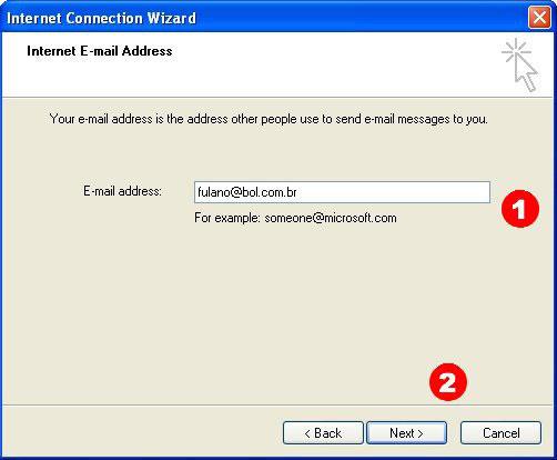 Coloque seu e-mail do BOL nesse campo e clique em 'Avançar' (Next)