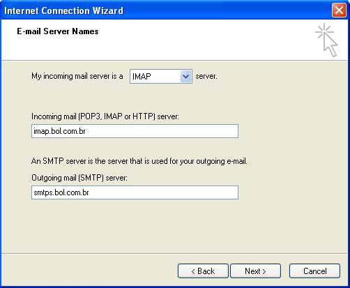 Preencha a tela de definição de servidores de e-mail