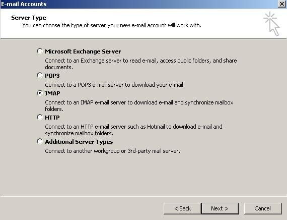 No passo 'Tipo de servidor', selecione a opção IMAP e clique em 'Avançar' (Next)