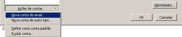 Na parte inferior da nova janela, clique em 'Ações de Contas' e selecione 'Nova conta de e-mail'