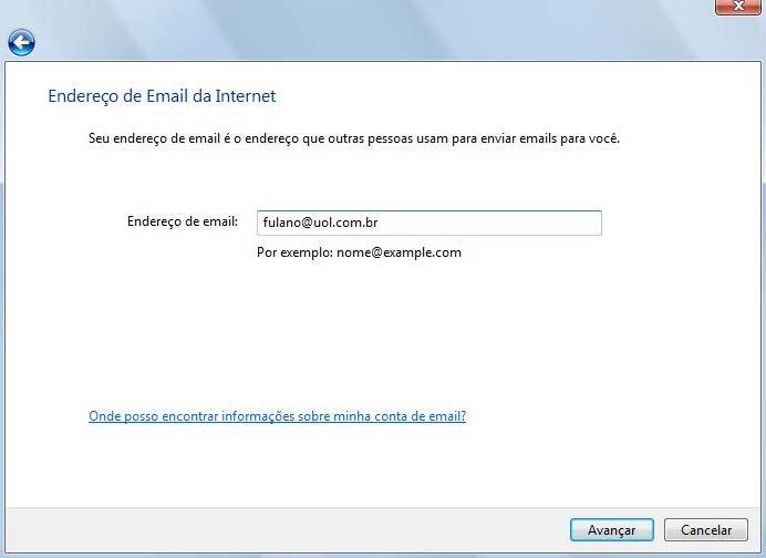 Digite seu endereço completo de e-mail e clique em 'Avançar'