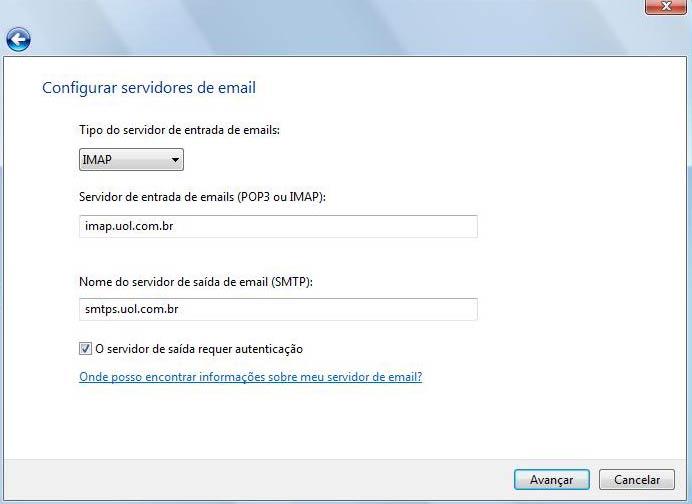 Preencha as configurações de servidores de e-mail
