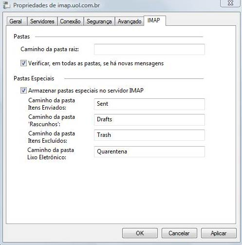 Preencha as portas de SMTP e IMAP